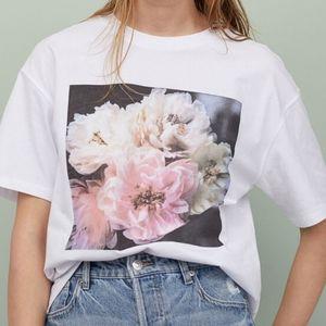 TEE Helena Christensen for H & M white tee sz. S